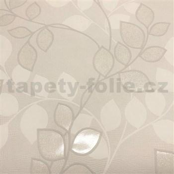 Vliesové tapety na stenu Collection lístky hnedé s trblietkami na hnedom podklade