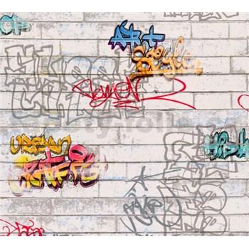 Papierové tapety na stenu biele tehly s graffiti