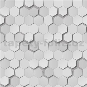 Papierové tapety na stenu 3D plásty sivé