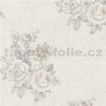 Vliesové tapety na stenu Como - ruže svetlo hnedé na krémovom podklade