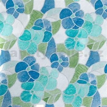 Samolepiace tapety d-c-fix - transparentný kvety modré 45 cm x 15 m