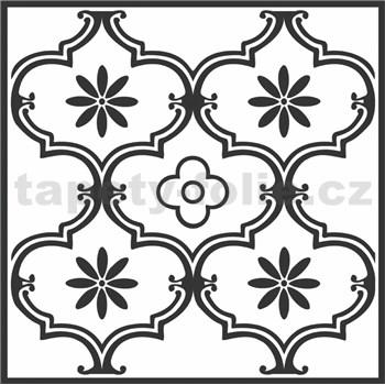 Vinylové samolepiace podlahové štvorce Classic ornament čierny rozmer 30,5 cm x 30,5 cm