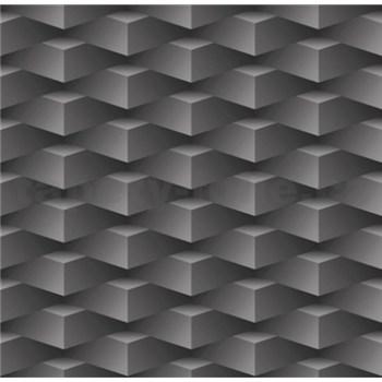 Papierové tapety na stenu 3D kocky tmavo sivé
