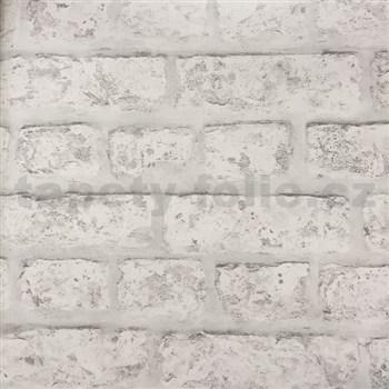 Papierové tapety na stenu tehla bielo-sivá