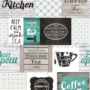 Vinylové tapety do kuchyne IMPOL Decoration moderný patchwork tyrkysový