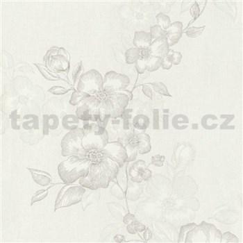 Luxusné vliesové tapety na stenu G.M.Kretschmer Deluxe kvety bielo-krémové
