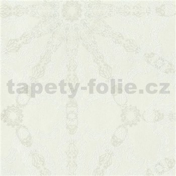 Luxusné vliesové tapety na stenu G.M.Kretschmer Deluxe lesklý strieborný vzor na krémovom podklade