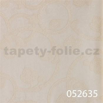 Tapety na stenu Light Story - secesný vzor smotanový na bielom podklade