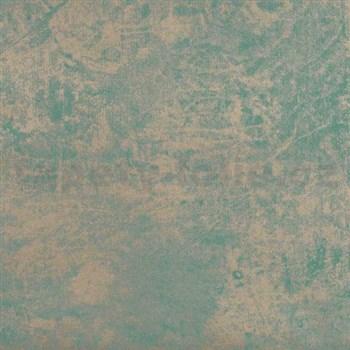 Tapety na stenu La Veneziana - kovový vzhľad - strieborno-tyrkysový
