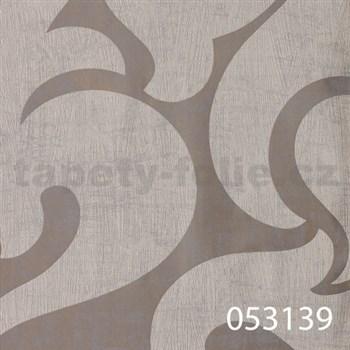 Tapety na stenu La Veneziana - biely benátsky vzor na striebornom podklade s metalickým efektom
