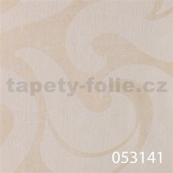 Tapety na stenu La Veneziana - biely benátsky vzor na krémovom podklade s metalickým efektom