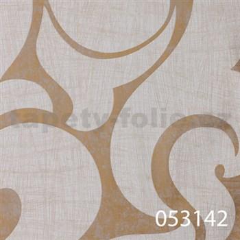 Tapety na stenu La Veneziana - biely benátsky vzor na zlatom podklade s metalickým efektom