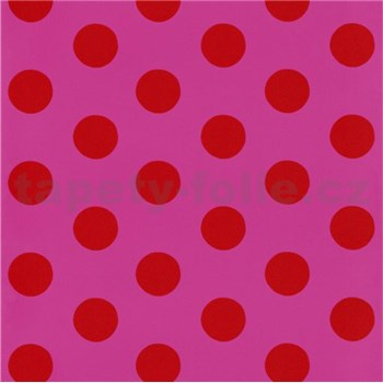 Tapety na stenu Die Maus bodky červené na ružovom podklade - POSLEDNÉ KUSY