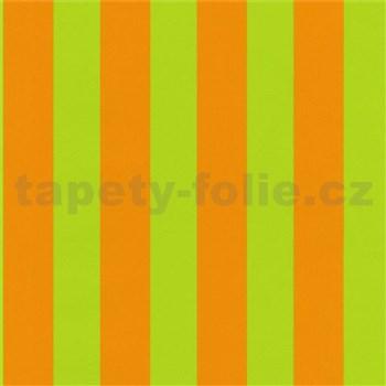 Tapety na stenu Die Maus pruhy zeleno-oranžové