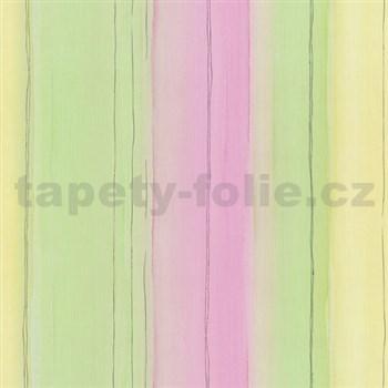Papierové tapety na stenu Dieter Bohlen - pruhy zeleno-žlté