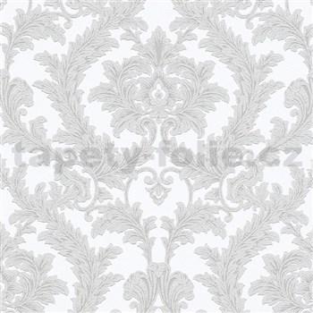 Vliesové tapety na stenu IMPOL Effecto zámocký vzor hnedosivý s trblietkami na bielom podklade