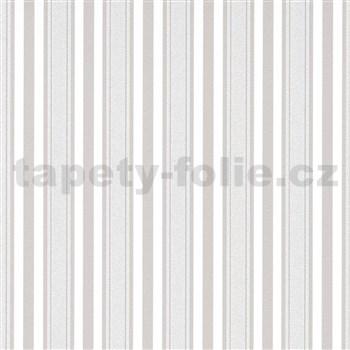 Vliesové tapety na stenu IMPOL Effecto pruhy hnedosivé s trblietkami