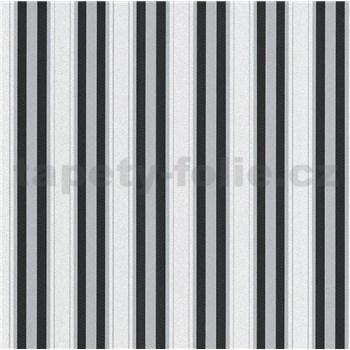 Vliesové tapety na stenu IMPOL Effecto pruhy čierné, sivé, biele s trblietkami