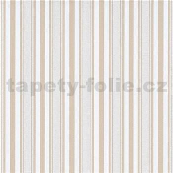 Vliesové tapety na stenu IMPOL Effecto pruhy hnedo-biele s trblietkami
