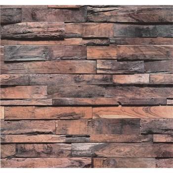 Vliesové tapety na stenu Einfach Schoner drevo béžovo-sivá patina s 3D efektom