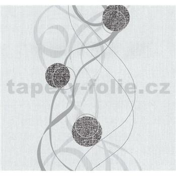 Vliesové tapety na stenu Einfach Schoner kolieska čierne na bielom podklade