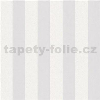 Vliesové tapety na stenu Ella pruhy biele s textilnou štruktúrou s trblietkami