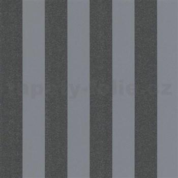 Vliesové tapety na stenu Ella pruhy čierne s textilnou štruktúrou s trblietkami