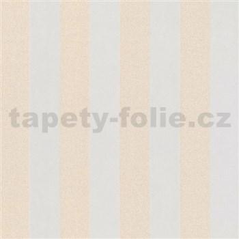 Vliesové tapety na stenu Ella pruhy krémové s textilnou štruktúrou s trblietkami