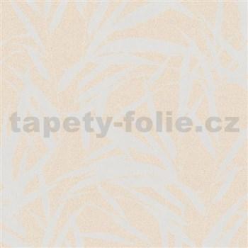 Vliesové tapety na stenu Ella bambusové listy strieborné na krémové textilne štruktúre