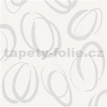 Vliesové tapety na stenu Ella oválky biele