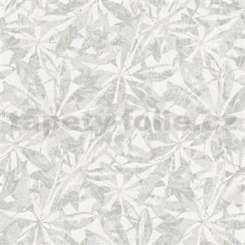 Vliesové tapety na stenu Ella listy sivé