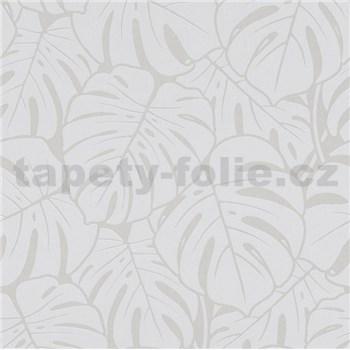 Vliesové tapety na stenu Ella veľké listy sivo-strieborné