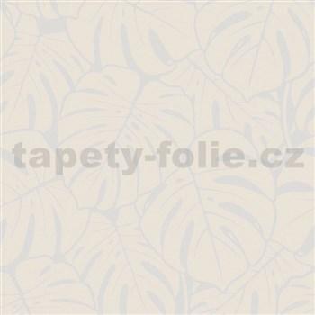 Vliesové tapety na stenu Ella veľké  listy krémovo-strieborné