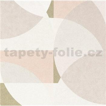 Vliesové tapety na stenu Elle Decoration geometrický vzor ružovo-zlatý