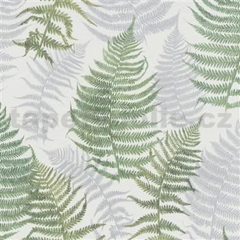 Vliesové tapety na stenu G. M. Kretschmer papradie sivo-zelené na bielom podklade