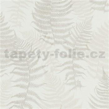 Vliesové tapety na stenu G. M. Kretschmer papradie hnedo-béžové na bielom podklade