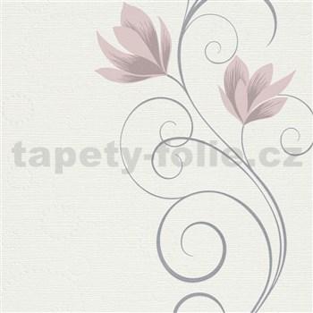 Vliesové tapety na stenu Natural Living kvety ružové na krémovom podklade