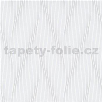 Vliesové tapety na stenu Novelties vlnovky bielo-sivé s leskom