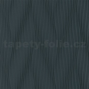 Vliesové tapety na stenu Trésor vlnovky čierne s leskom