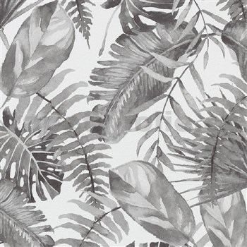 Vliesové tapety na stenu IMPOL Eyecatcher listy rastlín sivé