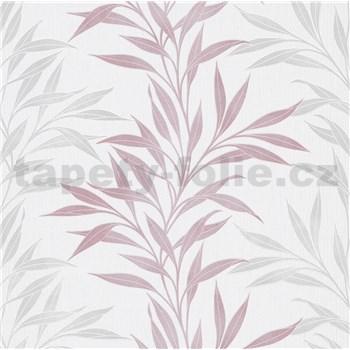 Vliesové tapety na stenu ružovo-sivé popínavé vetvičky