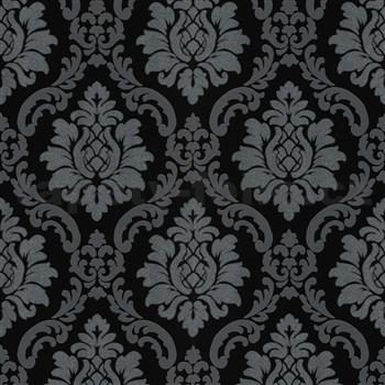Vliesové tapety na stenu IMPOL zámocký vzor strieborno-sivý na leskle čiernom podklade