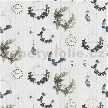 Vliesové tapety na stenu IMPOL vyšívacie rámčeky s eucalyptom na bielom dreve