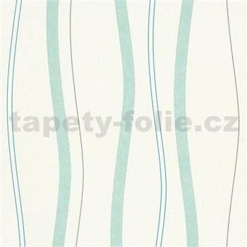 Vliesové tapety na stenu Natural Living vlnovky aqua