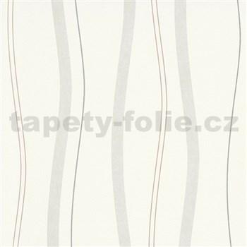 Vliesové tapety na stenu Natural Living vlnovky hnedo-sivé
