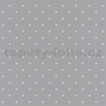 Vliesové tapety na stenu Freestyle bodky biele na sivom podklade