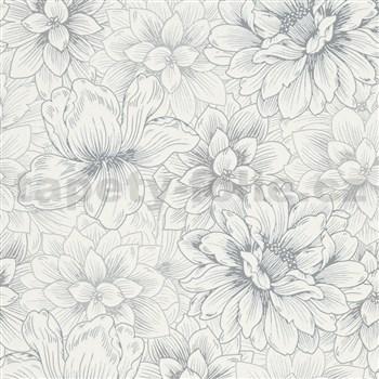 Vliesové tapety na stenu Natural Living biele kvety so striebornými detailmi