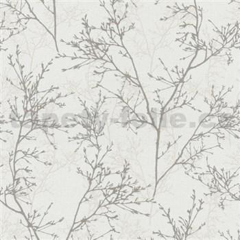 Vliesové tapety na stenu Instawalls vetvičky sivo-biele