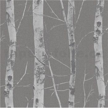 Vliesové tapety na stenu Instawalls kmene stromov s vetvami strieborné na sivom podklade