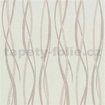 Vliesové tapety na stenu Graphic vlnovky ružovo-hnedé